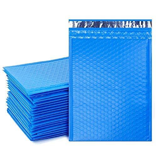Colorato stagnola imbottito peal e chiudi bolle mailing postale 180x260mm sacchetti regalo busta - blu metallizzato, 150