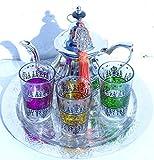 kenta Juego de té marroqui Original 3 Vasos con Dibujos Estilo Henna, Tetera para 3 y Bandeja de 25 cm repujada a Mano + un Llavero Adorno Mano de Fatima (Fucsia Amarillo Verde)