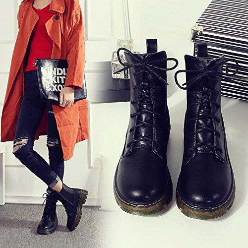 &zhou Femme Martin bottes automne et bottes d'hiver la mode bottes de coton Sangles black cotton