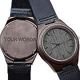 Personalisierte Gravierte Holz-Uhren für Herren, natürliches schwarzes Echtleder-Holz, analoge Armbanduhr mit Gravur Ihrer Worte für Ehemann, Sohn, personalisierbare Holz-Armbanduhr zum Geburtstag, Jahrestag