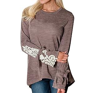 Tosonse T-Shirt Frauen Langarmshirt Druck Lässig O-Ausschnitt Shirts Tops Tunika Fasching Stretch Blusen Tee