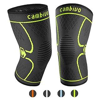 CAMBIVO 2 x Kniebandage, Knieschoner, Kniestütze für Meniskusriss, Arthritis, ACL-Verletzung, Gelenkkrankheiten, Laufen, Wandern, Joggen, Sport, Volleyball, Crossfit (Schwarz/Grün, S)
