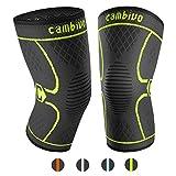 CAMBIVO 2 x Kniebandage, Knieschoner, Kniestütze für Meniskusriss, Arthritis, ACL-Verletzung, Gelenkkrankheiten, Laufen, Wandern, Joggen, Sport, Volleyball, Crossfit (Schwarz/Grün, L)
