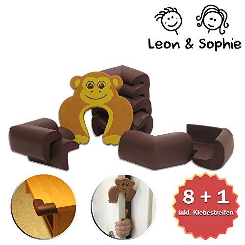 Leon&Sophie Eckenschutz / Kantenschutz Baby inklusive Türstopper – braun
