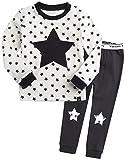 Kinder Maedchen Langarm zweiteilig Schlafanzug Pajamas 2pcs Set Memo Star Cream M