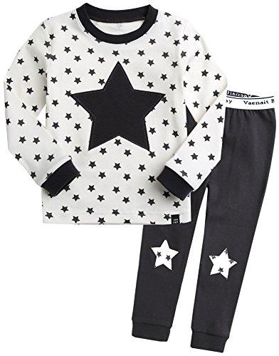 Kinder Maedchen Langarm zweiteilig Schlafanzug Pajamas 2pcs Set Memo Star Cream M (Star Feuer Kostüm)