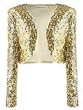 Anna-Kaci, glitter paillettes maniche lunghe Blazers bolero Coprispalle ritagliata giacche Gold Medium
