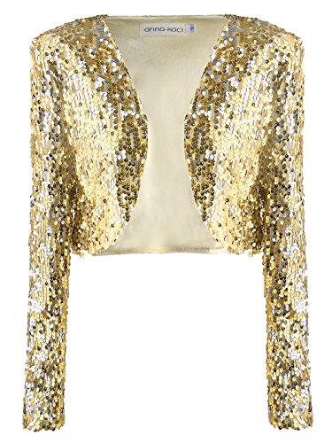 Anna-Kaci Pailletten Metallic Retro Disco Geerntetes Langarm Bolero Jacke Damen Rose Gold Farbe Kleider