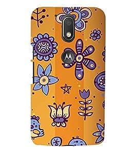 animated flowers and birds in orange background 3D Hard Polycarbonate Designer Back Case Cover for Motorola Moto G4 Play
