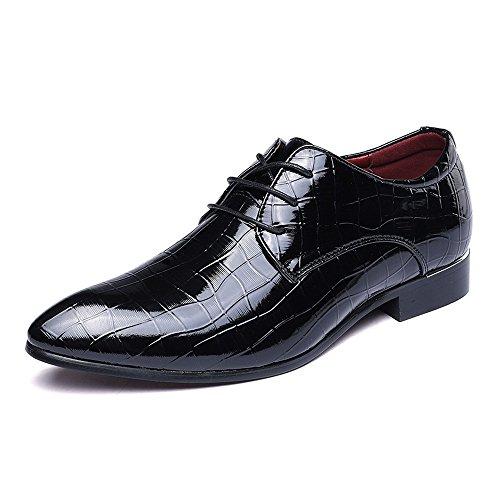 Schuhe Herren Lace Up Müßiggänger Schuhe PU Leder Faux Schlangenhaut Textur Business Gefütterte Kleid Patent Oxfords Atmungsaktiv (Color : Schwarz, Größe : 41 EU) -