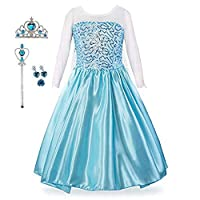 Baterflyo Girls Princess Fancy Dress Queen Costume Tulle Blue with Accessories Dressing up for Halloween Carnival Cosplay Party Outfit