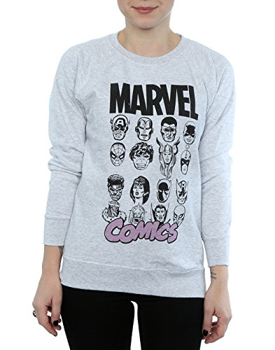 Marvel Multi Head, Felpa Donna Heather Grey