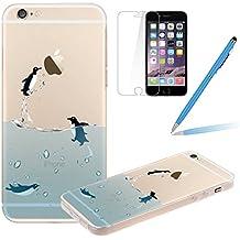 Funda para iPhone 4S - Felfy iPhone 4/4S Novelty Animales Natación Pingüino Diseño Ultra Fina Soft TPU Silicona Gel Transparente Carcasa +1x Protector de Pantalla +1x Azul Lápiz Táctil