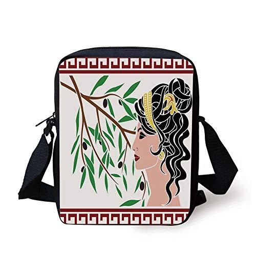 Toga Party,Mythological Aphrodite Profile and Olive Branch Greek Borders Framework Print,Multicolor Print Kids Crossbody Messenger Bag Purse