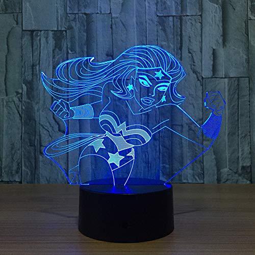 Wonder Woman 3D Farbe 7 Farbe Led Nachtlampen Für Kinder Touch Led Usb Tabelle Lampara Lampe Baby Schlafen Nachtlicht Led Mit Sensor, Sieben-farbigen Note