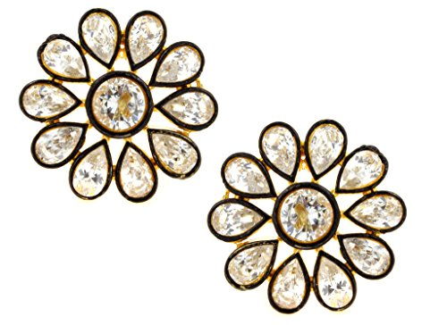 the-jewelbox-7-stone-flower-kundan-polki-american-diamond-gold-plated-stud-earring-for-women