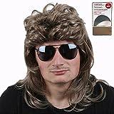 TE-Trend 80er Vokuhila Perücke Herren Proll Macho Star Haarteil dunkelblond Fasching Karneval mit Unterziehhaube