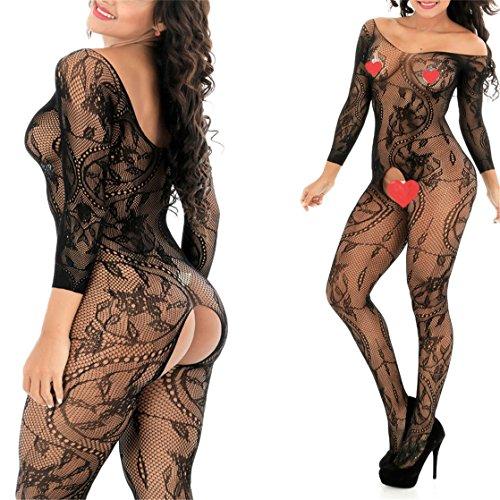 GDMe Damen Unterwäschen Reizwäsche Netz Strumpfhose Bodystockings Hohle Blumen Jumpsuit Frauen Bodysuit Nachtwäsche Dessous