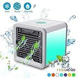 AOLVO Tragbare Klimaanlage, 3in 1Persönlichen Evaporative Air Cooler, Luftbefeuchter und Luftreiniger mit 7Farben LED-Lichtern, Desktop Lüfter für Office Home Outdoor und Trave