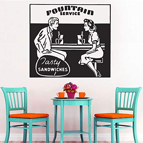 Vintage Restaurant Dekor, Retro Ad Wakk Vinyl Aufkleber Küche Fasty Sandwiches Lebensmittel Schaufenster Aufkleber Bistro Dekoration 63X57CM (Land Dekor Restaurant)