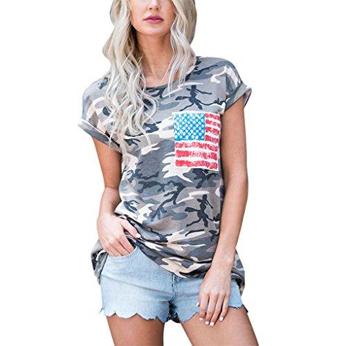 Vovotrade ?? Frauen Camouflage Kurzarm Bluse Tops T-Shirt Mit Tasche