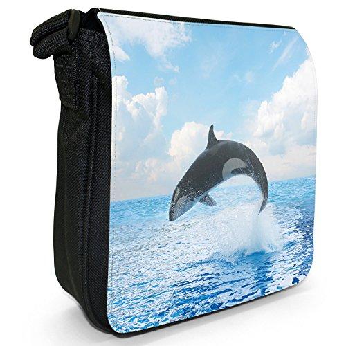 Killer/orca balene Orcinus orca piccolo nero Tela Borsa a tracolla, taglia S Acrobatic Killer Whale Jumps