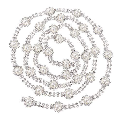 Fenteer 1 Yard Legierung Strass Perlenband Perlenkette Perlenschnur Perlengirlande Dekogirlande...