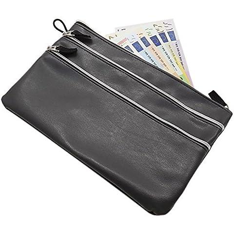 Grande portafoglio per banca 3 tasche in grigio