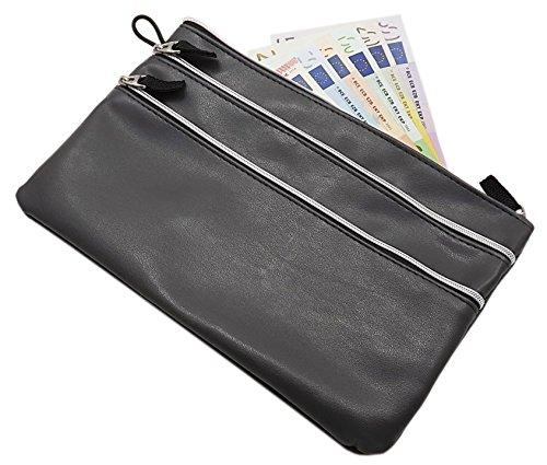 Grande bolso dinero 3 bolsillos cremallera gris