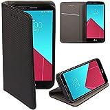 Moozy® Flip cover Funda tipo libro Smart magnética con Stand plegable para LG H815 G4 en el soporte de silicona, Negro Frc
