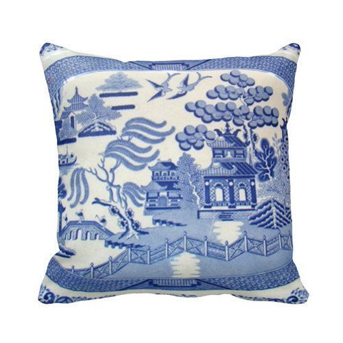 EHSaleStore Blue Willow Cotton Square Throw Pillow Case Cushion Cover 18 x 18 inches Vintage Blue Willow