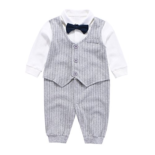 Fairy Baby Baby Outfits Langarm Strampler Jungen Smoking Baby Baumwolle Gentleman Outfit Bowknot Weihnachts/Taufstrampler Kleidung, 90(12-24 Monate), Grau Streifen (Baumwolle Smoking)