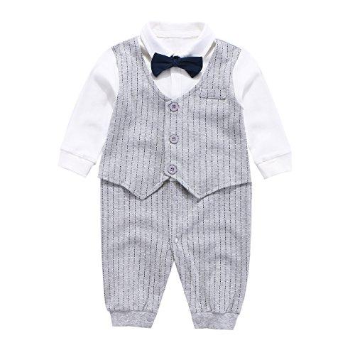 Fairy Baby Baby Outfits Langarm Strampler Jungen Smoking Baby Baumwolle Gentleman Outfit Bowknot Weihnachts/Taufstrampler Kleidung, 80(9-12 Monate), Grau Streifen - 9 Monate Overall