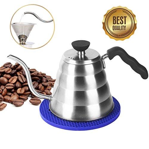 Kaffeekanne Edelstahl Teekessel Elektrisch, Ohne Filter, 1,2L für 4 Tassen, Kaffeekessel Wasserkessel Wasserkocher Japan Kessel Mit Schwanenhals