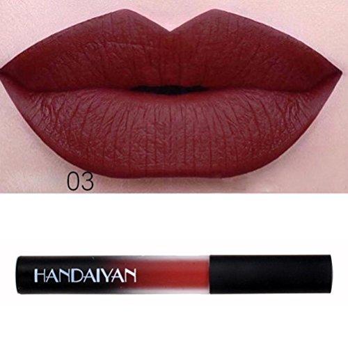 Huihong HANDAIYAN 12 Farben Samt Matt Lippenstift Make Up Lipgloss Lippe Wasserdicht Lang Anhaltenden Schimmer Metallic Lipgloss (Sexy-3#)