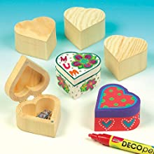 Baker Ross Wooden Heart Boxes (Pack of 4) For Kids to Paint and Decorate and Gift