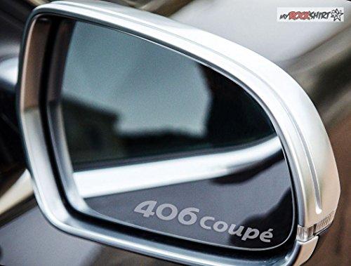 2 x Peugeot 406 Coupe Logo silber für Außenspiegel Spiegel Scheibe Glas Milchglas Frost Frostfolie Effekt Frost Milch Gravur Aufkleber aus Hochleistungsfolie für alle glatten Flächen von myrockshirt® -