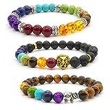 Achat Perlen 7 Chakras Energie Stein Armband Yoga Healing Balance Stein Armkette Elastisches Steinarmreif...