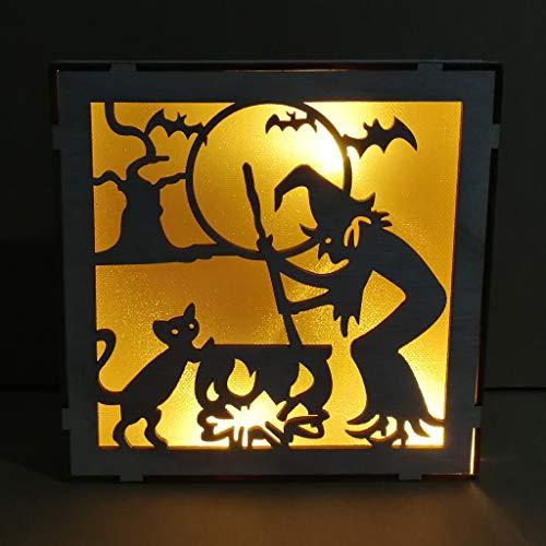 Mitlfuny Halloween coustems Kürbis Hexe Cosplay Gast Ghost Schicke Party Halloween deko,Weinlese-Halloween-Dekor LED Hohle hölzerne helle Anhänger-Ausgangsverzierungen (Crimson Ghost Kostüm)