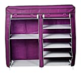 #4: GTC 7+2 Layer 27-Pairs Portable Boot Rack Double Row Shoe Rack Multipurpose Portable Folding Shoe Rack/Shoe Shelf/Shoe Cabinet with wardrobe cover, Easy Installation Stand For Shoes ( IT N - 2263 ) (Purple)
