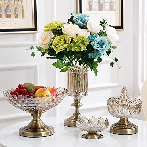 AdorabFruit Obstteller aus Glas im europäischen Stil,Wohnzimmer-Couchtisch, DREI Sätze aus Kristallglas-Obstteller,VierSätze(Keine Blumen) (Satz Von Drei Couchtische)