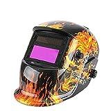 Amzdeal Masque de Soudure Automatique Casque Solaire Auto assombrissement Masque Soudeurs à l'arc crâne masque Casque de soudage DIN 9-13(Noir + flamme)