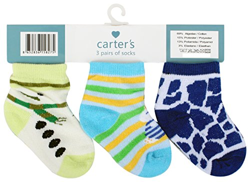 Baby Grow Boy's Carters Cotton Casual Baby Socks (0-12 Months (Blue)3 Pair