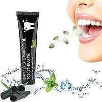 Aktivkohle Zahnpasta, Natürliche Zahnaufhellung, Whitening Zahnpasta mit Kokosnuss Bleaching Gel, Fluoridfreie Zahncreme für weiße Zähne, Charcoal Toothpaste