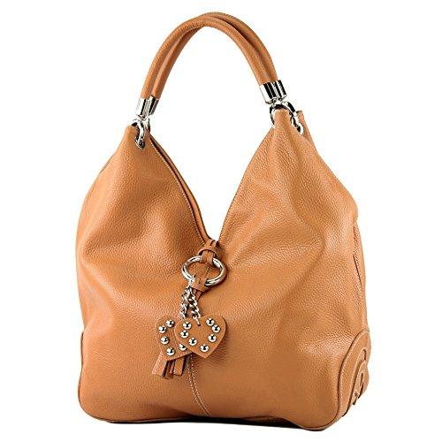 modamoda de - 330 - ital Handtasche Shopper Schultertasche Leder, Farbe:Camel -