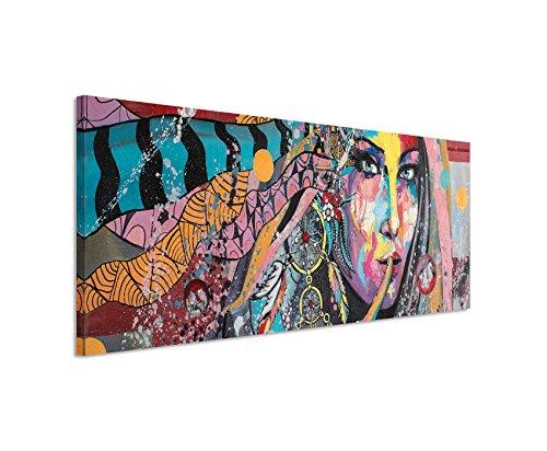 Panoramabild 150x50cm Ölgemälde - Farbenfrohe Frau mit Traumfänger auf Leinwand exklusives Wandbild moderne Fotografie für ihre Wand in vielen Größen