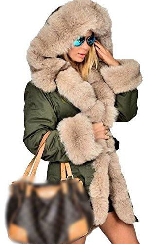 Le Donne Spesso Zip Incappucciato Faux Peloso Inverno Caldo Lungo Gli Outwear Soffice Collare Green