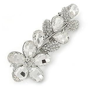 Avalaya Haarspange für Brautschmuck, Hochzeit, Abschlussball, rhodiniert, transparent, österreichischer Kristall, florales Design, 85 mm breit