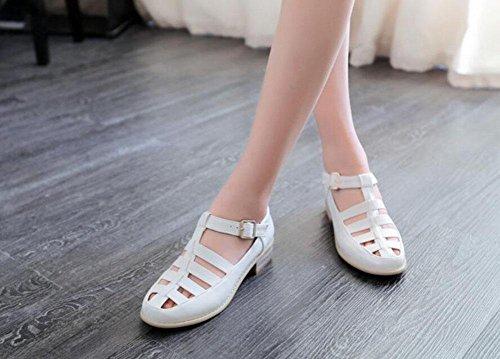SHINIK Femmes Pompes Retro Roman Sandales Court Chaussures Bleu Blanc Rose White