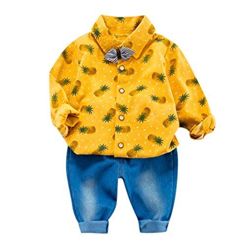 OdeJoy 2 Stück Baby JungenAnanas ObstBogenOberteile Shirt + Hose Outfits Einstellen GedrucktEinteiliges Shirt Punkt Oberteile Hemd Hosen Gürtel Brief Plaid Langarm Set (Gelb,6)